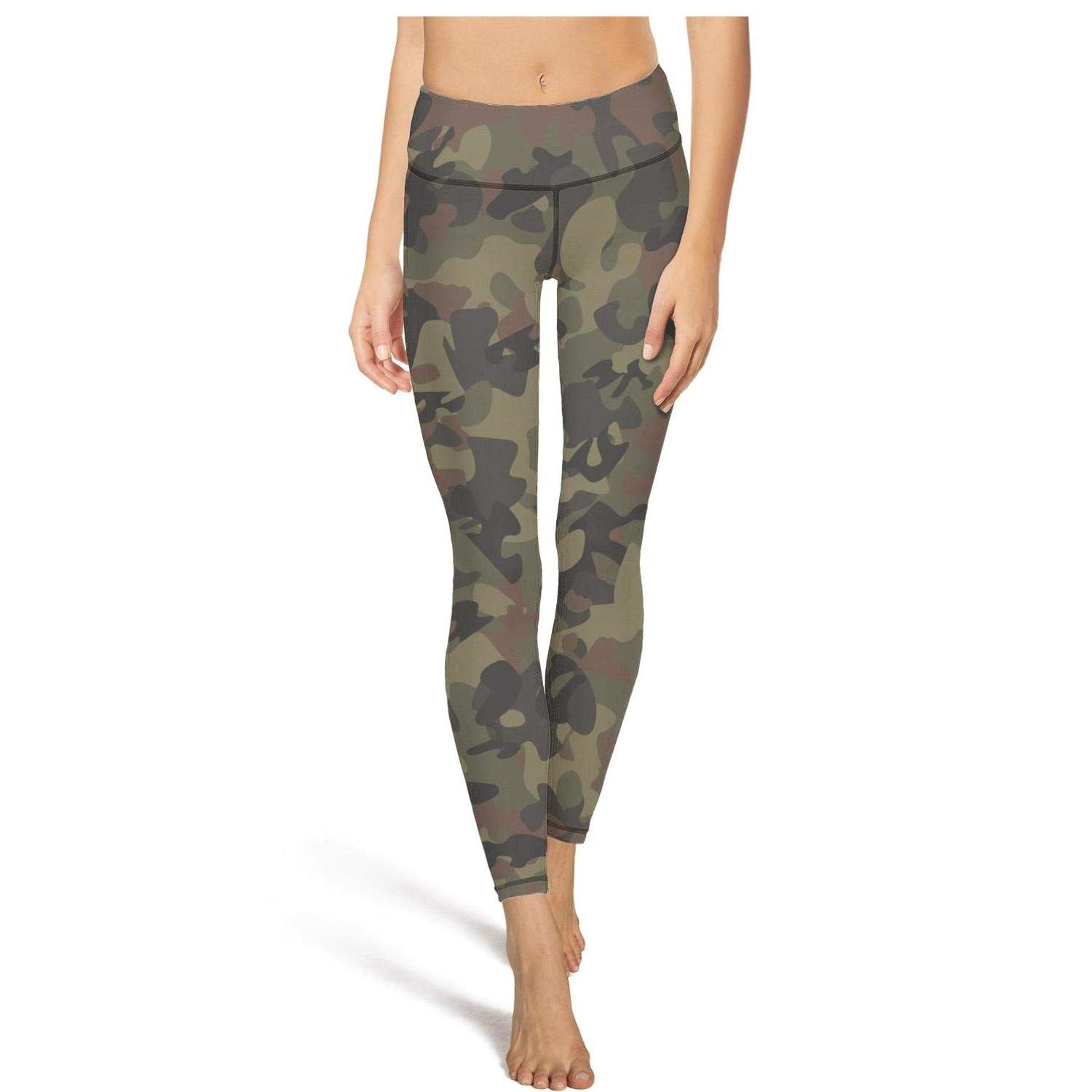 MollyWord Camo Army Camouflage Woodland Workout Running Leggings for Women Tummy Control Essential Yoga Pants with Pockets
