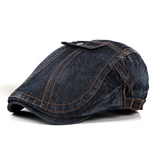 ZLSLZ Men s Washed Patches Ripped Denim Newsboy Ivy Cabbie Gatsby Beret Cap  Hat Black 0 e211622b6c9