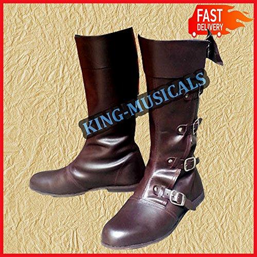 marrone pelle medievale in enactment calzature ALI NASIR stivali scarpe re lunga Viking scarpa wZvS6tq5