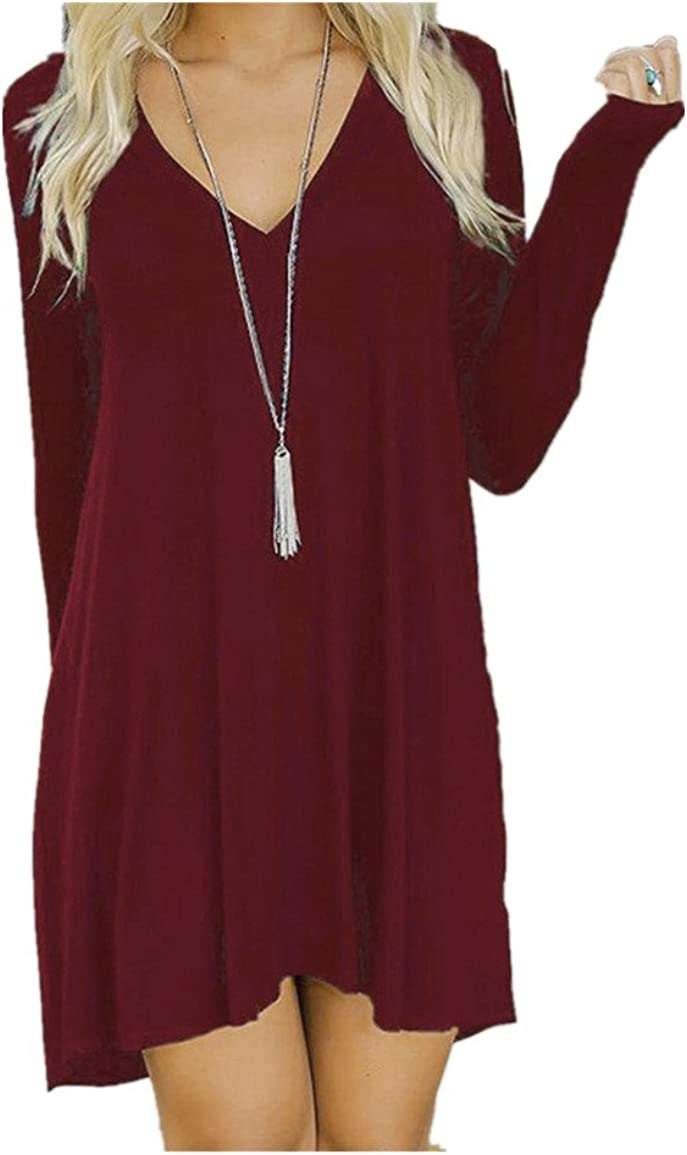 HN Women Autumn Winter Casual Long Sleeve Evening Party Short Mini Dress M, Wine Red
