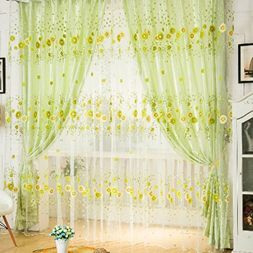 Sunflower Pattern Window Curtains for Living Room Nice Curtains Room Voile Door Panel Sheer Tulle Valance Balcony Screening 2pcs Light Green Tulle Vanity