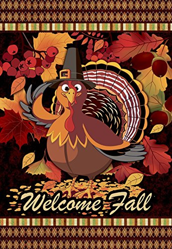 Welcome & Give Thanks Turkey Fall Thanksgiving Garden Flag - Vertical Double Sided Autumn Decorative Rustic / Farm House Small Decor Flags Set for Indoor & Outdoor Decoration, 12 X -