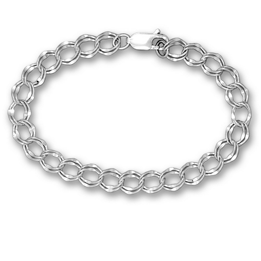 Sterling Silver Charm Bracelet Parallel Curb Style 7.5 Inches by The Magic Zoo