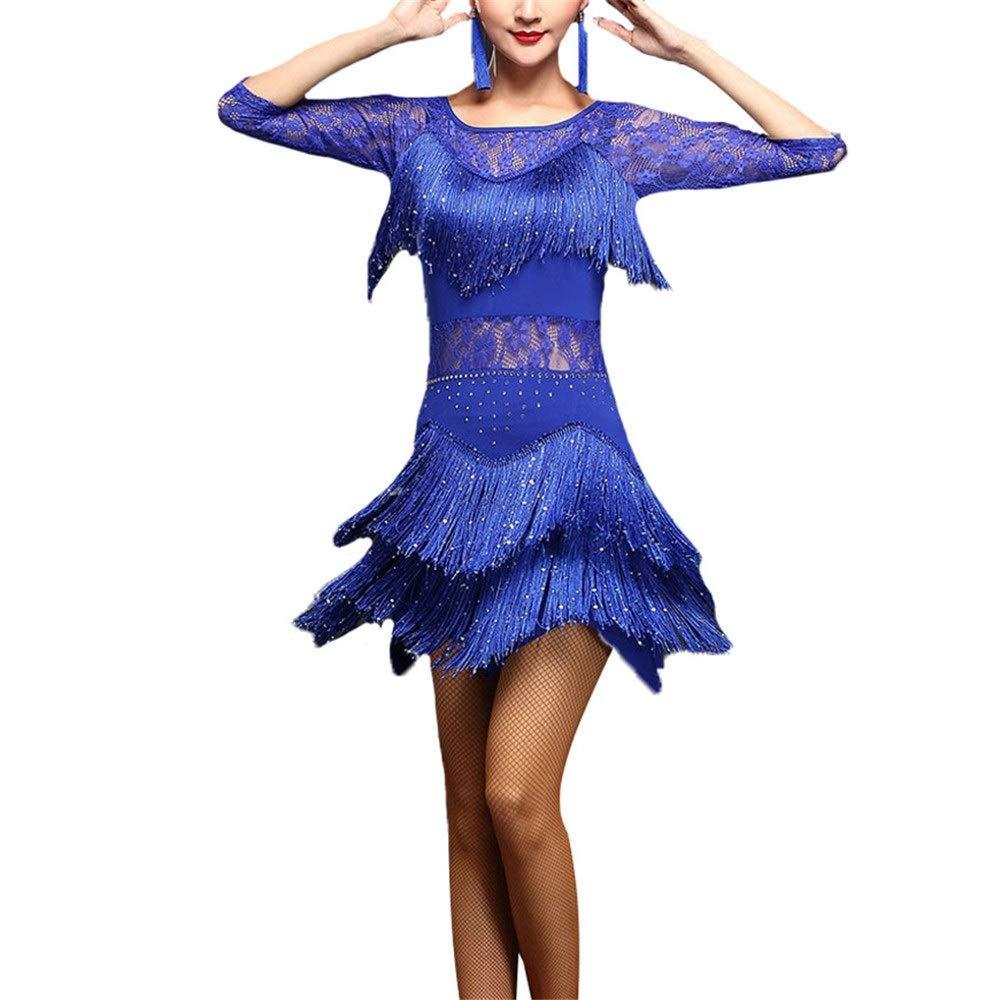 Royal bleu Femmes paillettes paillettes embellies frange gland flapper robe de danse latine demi-hommeches florale dentelle salle de bal vêtements de danse compétition costumes de perforhommece Tenue de femme pour a XX-Large