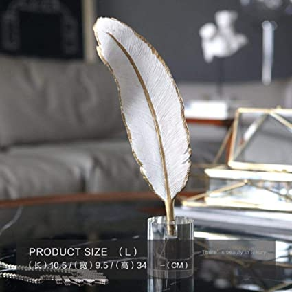 Craven Luxurious White Feather Statue Retro Sculpture Crystal Statuette Home Decor Art Gift Figurines Home Decoration Accessories 34cm Amazon Co Uk Kitchen Home