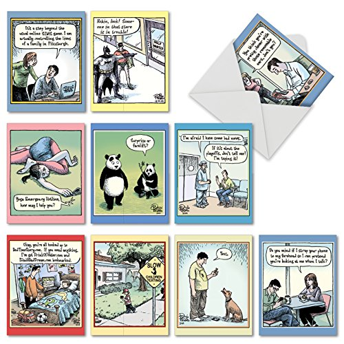 Funny Assortment of 10 Blank Greeting Cards 4 x 5.12 inch with White Envelopes - 'Very Bizarro' Note Cards Featuring Humorous Comics - Cartoon Stationery Notecards M6464OCBsl -
