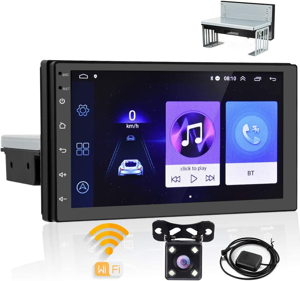 """Android Single Din Car Stereo GPS Navigation Head Unit 7"""" Touch Screen FM Bluetooth WiFi Radio Receivers Support Mirror Link for Android iOS Phone + Backup Camera"""