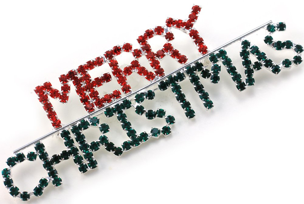 Happy Merry Christmas Pin Brooch Red Green Rhinestones Holiday Christmas Jewelry