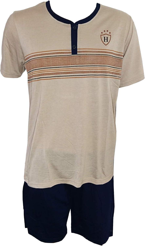 i-smalls Mens Short Pyjama Set Super Soft Cotton V Neck Sleepwear with Black Eye Mask