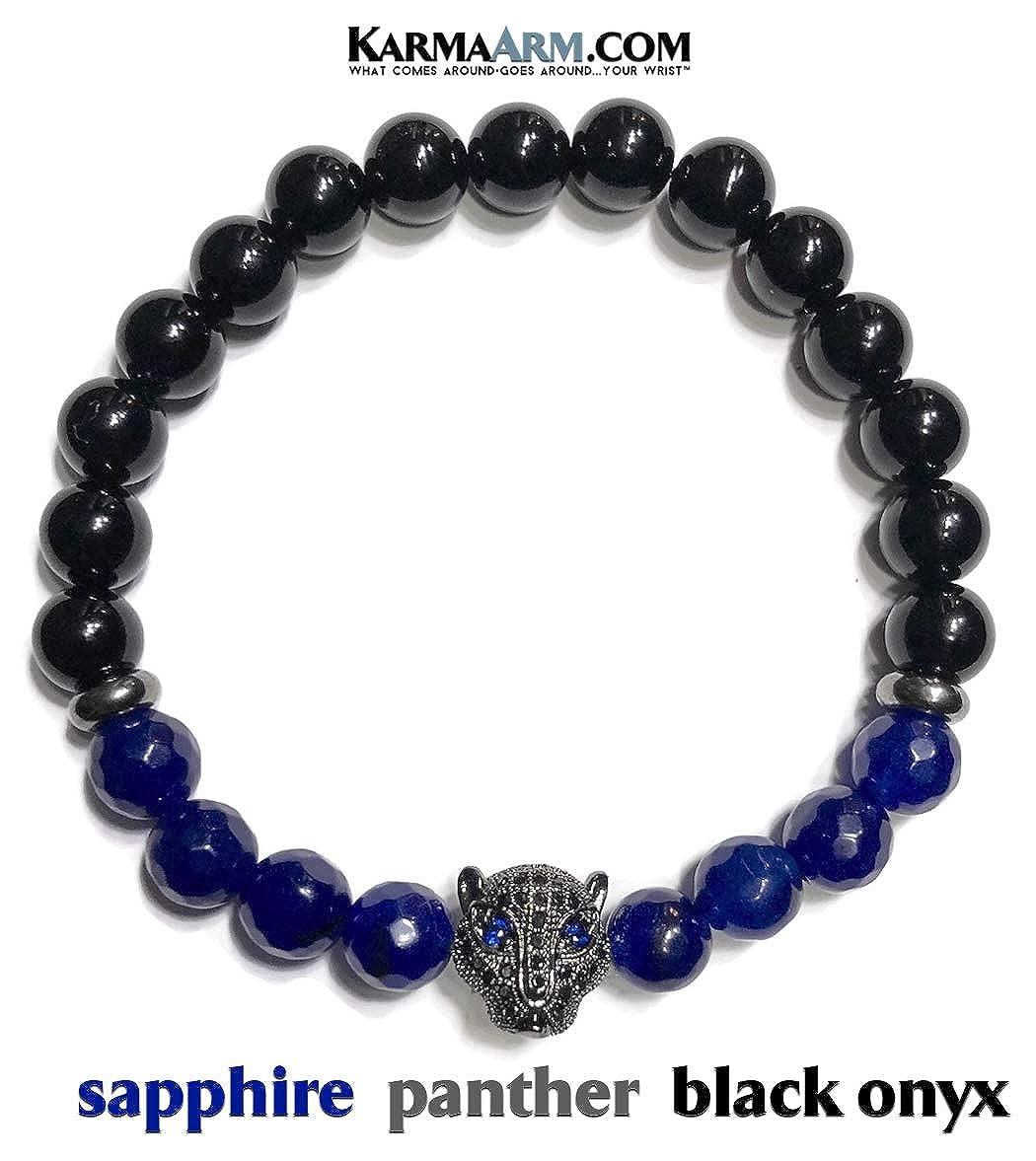 Courage Sapphire Yoga Reiki Healing Energy Boho Beaded Meditation Jewelry Black Onyx KarmaArm Black Panther Bracelet