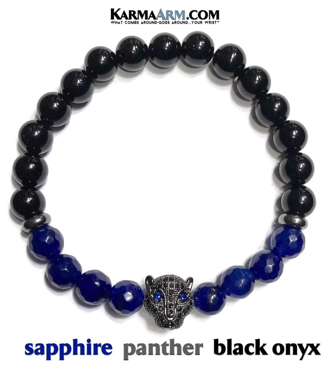 KarmaArm Black Panther Bracelets | Yoga Reiki Healing Boho Beaded Meditation Jewelry | Courage | Sapphire | Black Onyx (7)