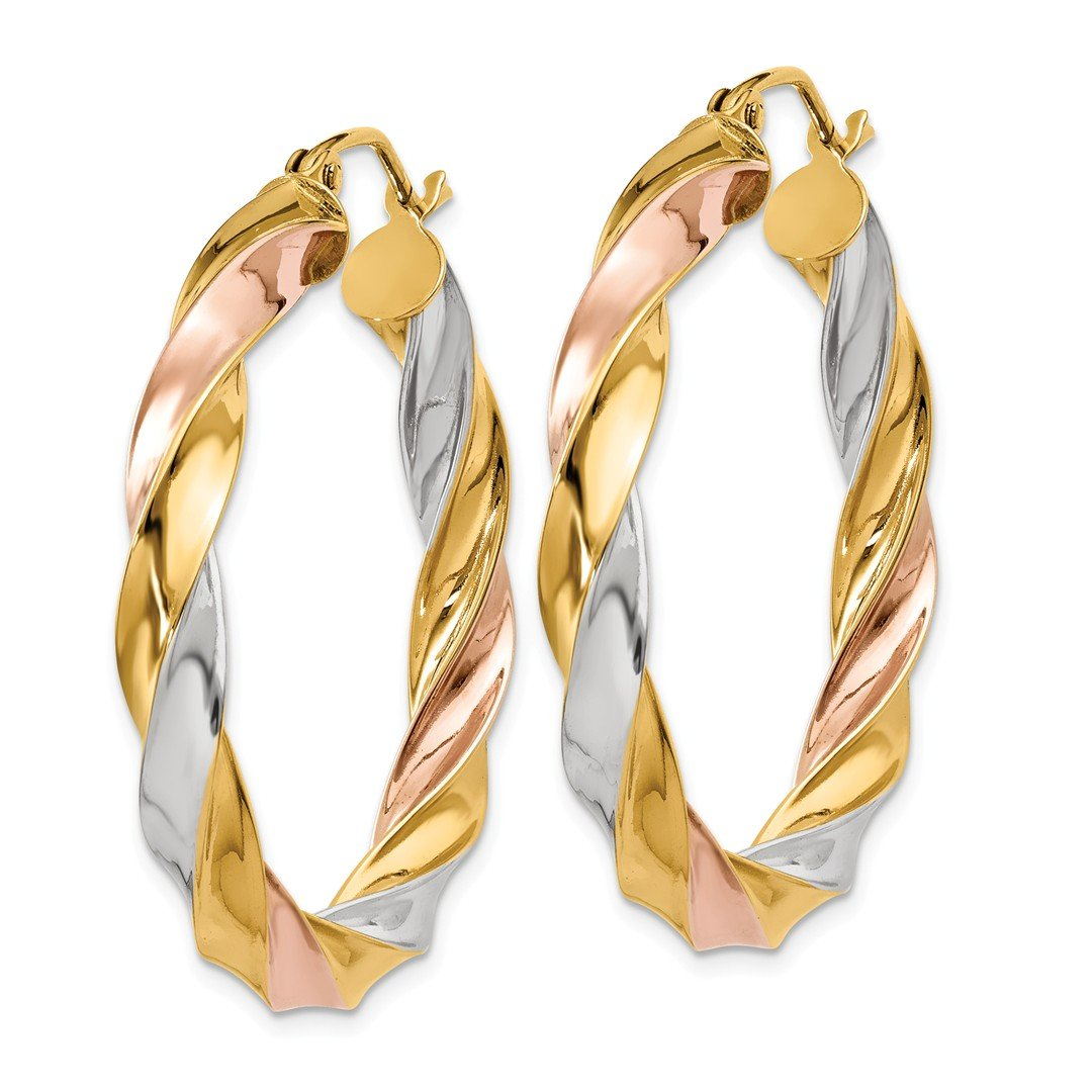 ICE CARATS 14k Tri Color Yellow White Gold Twisted Hoop Earrings Ear Hoops Set Fine Jewelry Ideal Mothers Day Gifts For Mom Women Gift Set From Heart by ICE CARATS (Image #2)