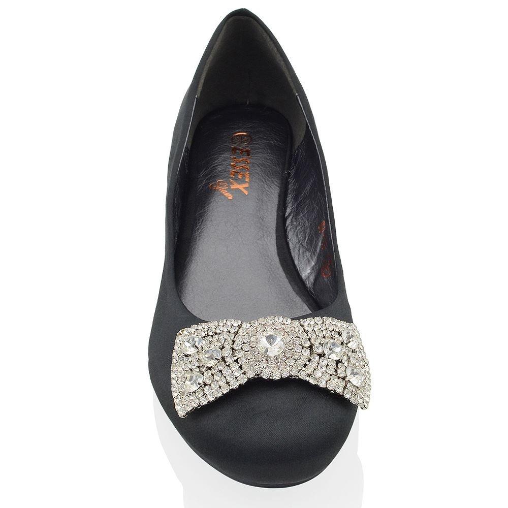 7d2f03259bd9 ESSEX GLAM Womens Wedding Bridal Evening Jewelled Brooch Pumps Ladies Flat  Dolly Shoes BF-10