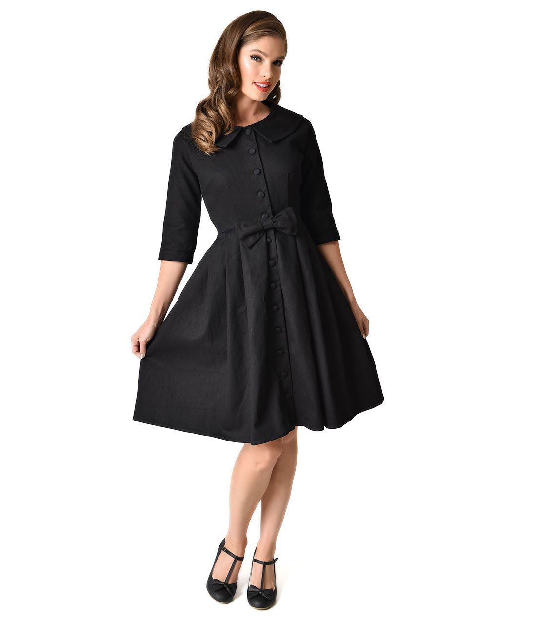 Unique Vintage 1950s Style Black Button Up Sleeved Hedren Coatdress