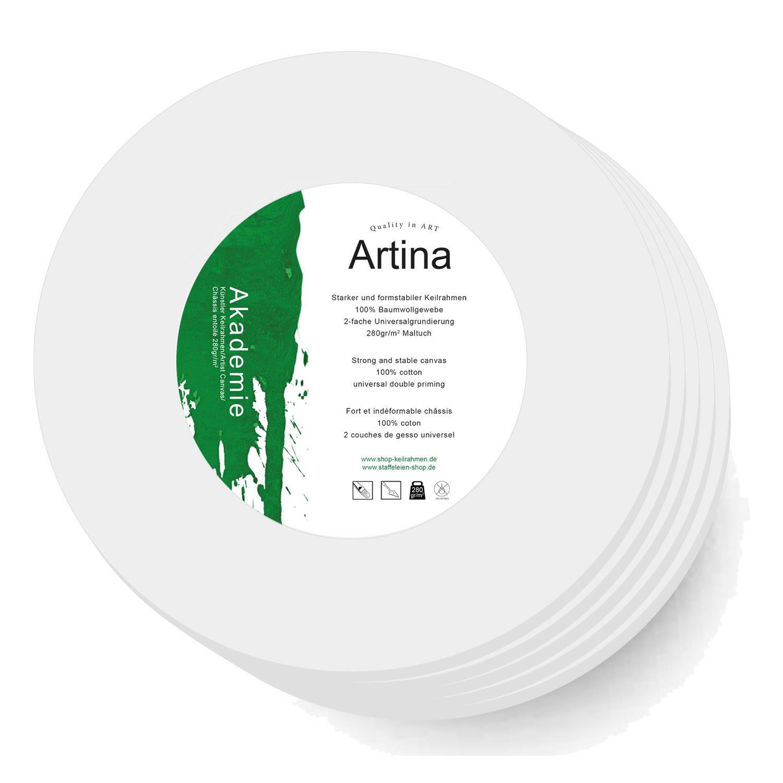 tele tonde per pittura lato di 10 cm set di 5 tele Artina Tela rotonda completa di telaio 280 g//m/²