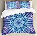 Ambesonne Mandala Duvet Cover Set King Size, Original Circle Mandala Motif Centered Vibrant and Spectral Color Motion Graphic, Decorative 3 Piece Bedding Set with 2 Pillow Shams, Purple Blue