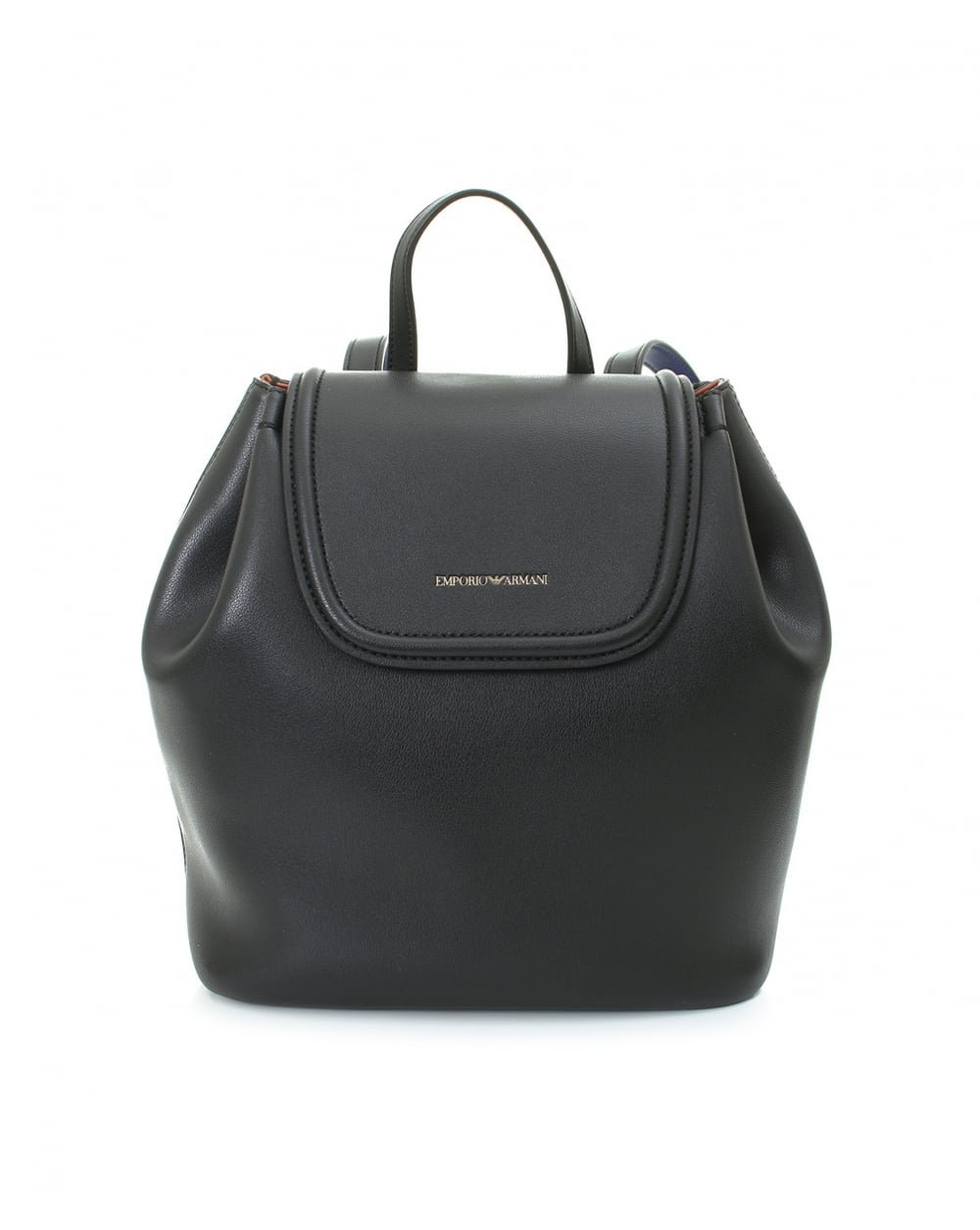 Emporio Armani Women's Eco Leather Backpack Black/Leather/Royal Blue One Size