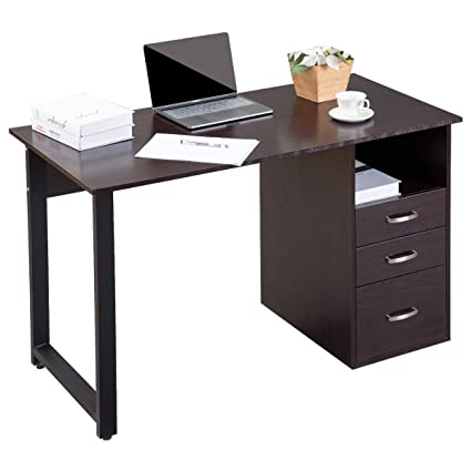 Amazon.com: Merax WF016106BAA WF016106 Modern Simple Design Computer Desk  Table Workstation With Cabinet And Drawers For Home U0026 Office (Espresso),:  Home U0026 ...
