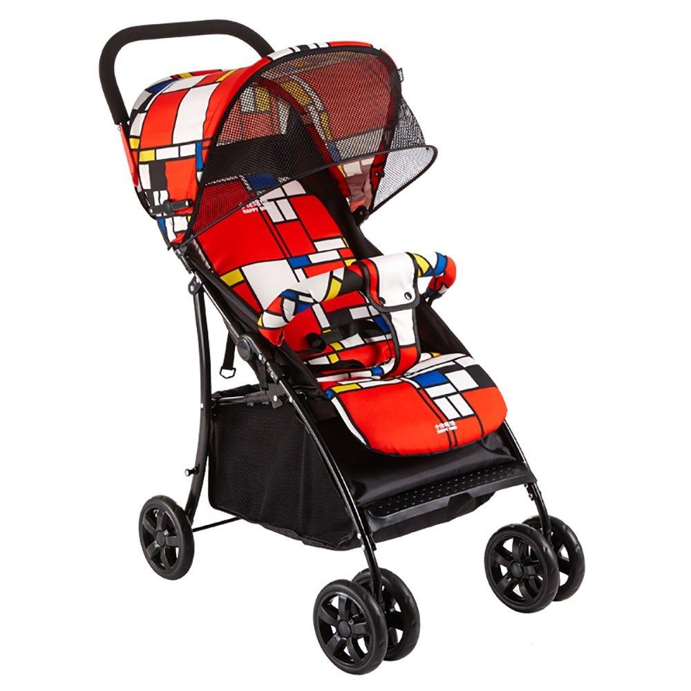 赤ちゃんのベビーカーのベビーカーは大きなコンパートメントの四季ユニバーサル49 * 75 * 100センチメートルと雨のカバーで折り畳むことが簡単にリクライニング座ることができます (色 : Red)  Red B07H88WQH3