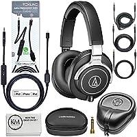 Audio-Technica ATH-M70x Professional Monitor Headphones (Black) + Tekline Active Replacement Cable + Headphone Case