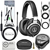Audio-Technica ATH-M70x Professional Monitor Headphones (Black) + Tekline Active Replacement Cable + Headphone Case