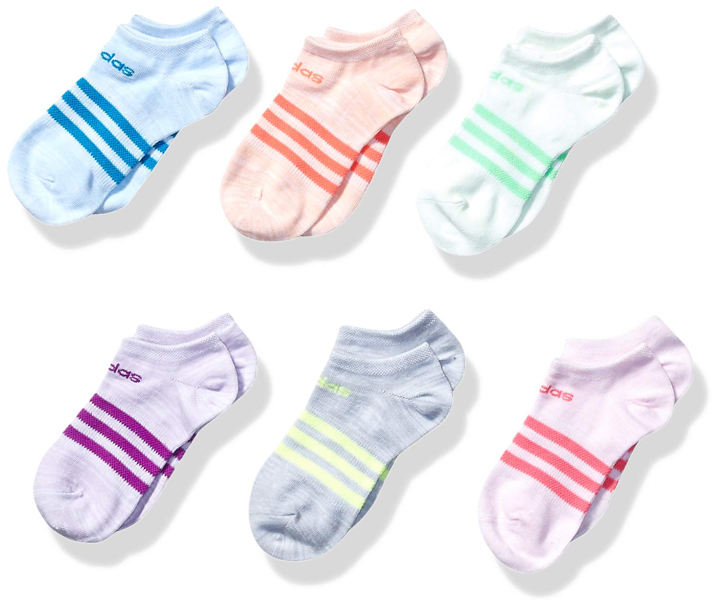 adidas Youth Kids-Girl's Superlite No Show Socks (6 Pair), Glow Blue - White Space Dye/Solar Blue/Glow Pink - Whi, Small, (Shoe Size 9C-1Y) by adidas