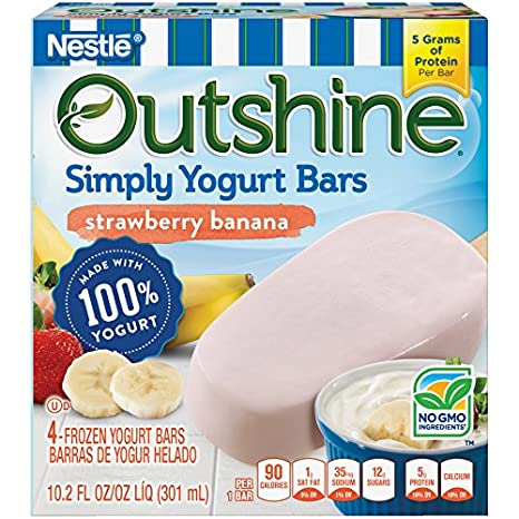 OUTSHINE Simply Yogurt Bars, Strawberry Banana, 4 count Box: Amazon.com: Grocery & Gourmet Food