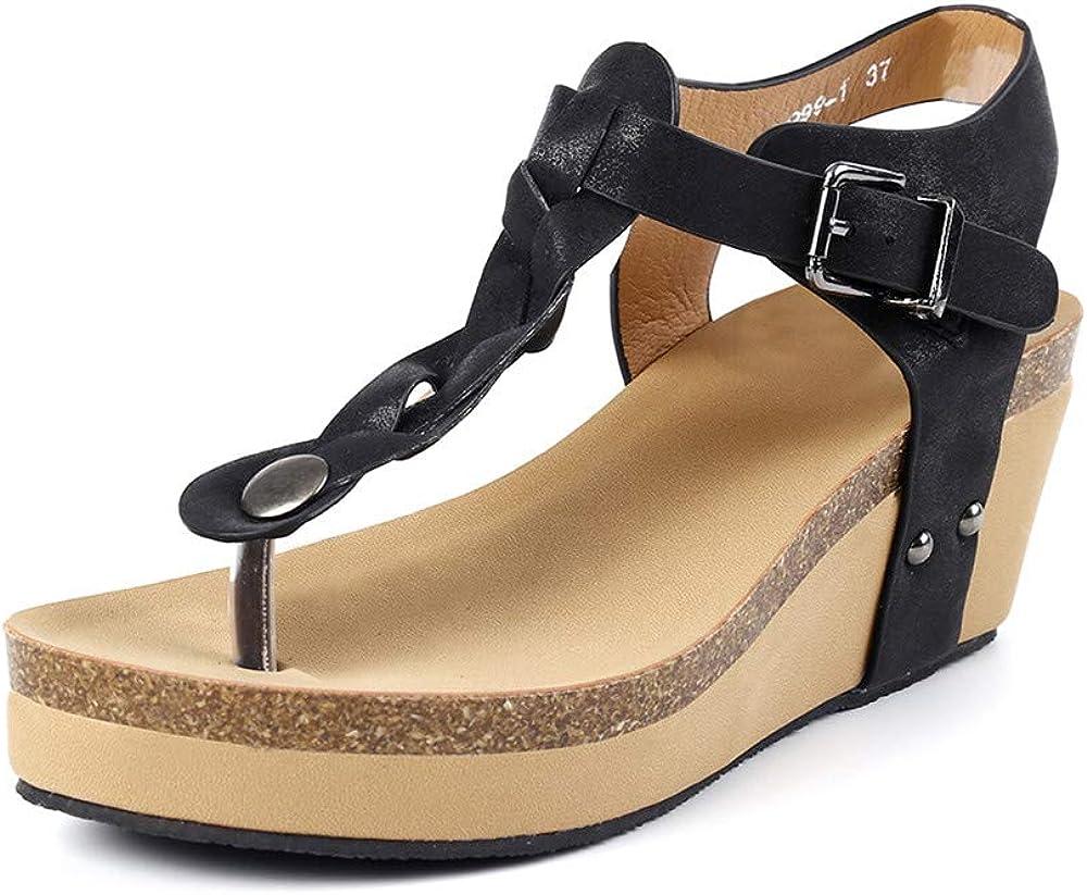 Sandale Femme Compensees Tong Plateforme Boucle /Ét/é Plage Espadrilles Bout Ouvert Cheville Romaines Chic Chaussures Talon 6.5cm Beige Noir Marron Gris EU35-EU43