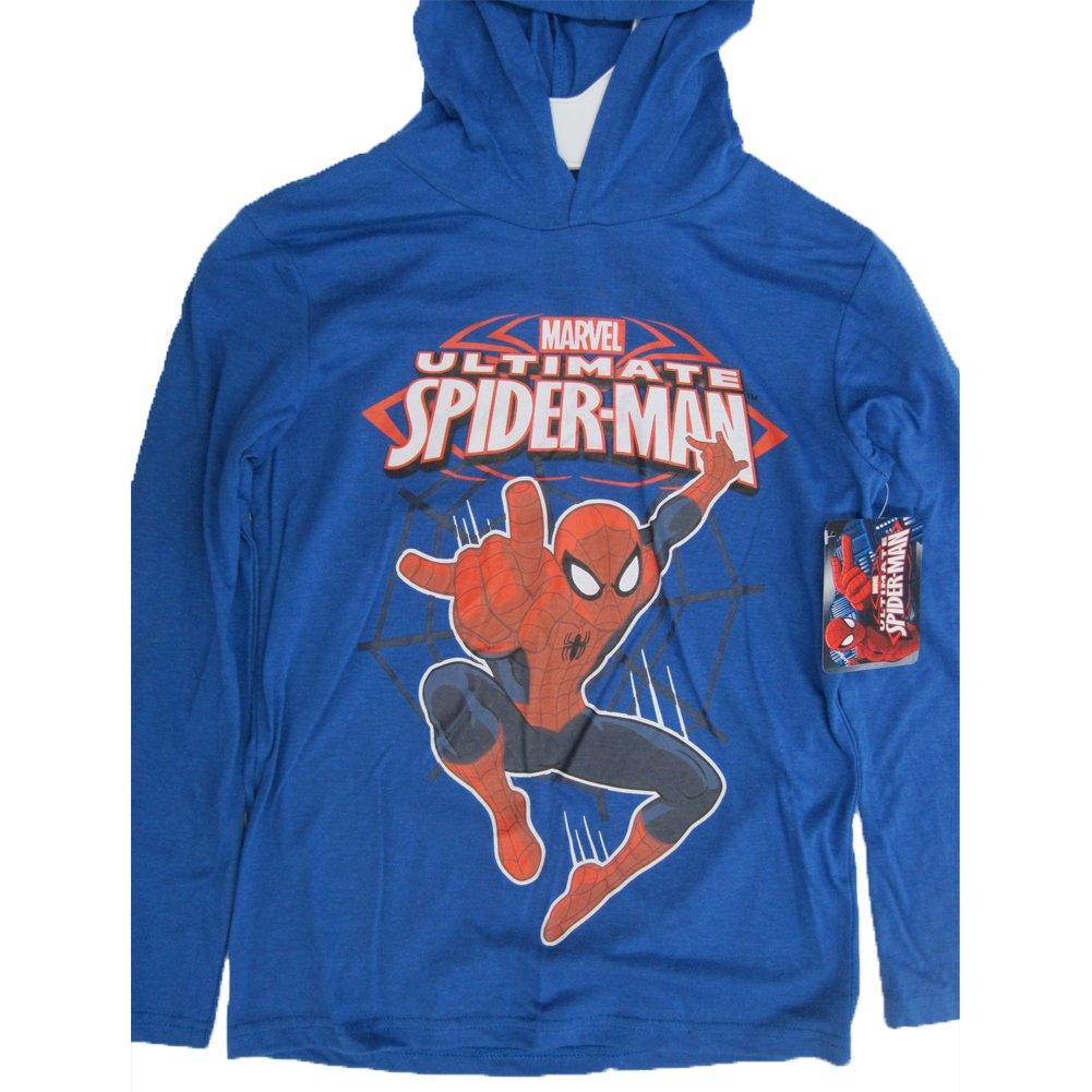 Spiderman Marvel Big Boys Royal Blue Print Hooded Shirt 10-12