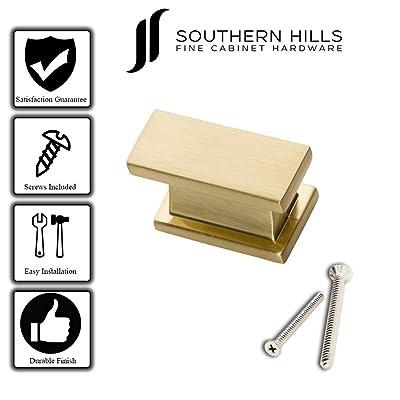 Buy Southern Hills Satin Brass Cabinet Knobs Rectangle Pack Of 5 Brushed Gold Kitchen Cabinet Knobs Cabinet Hardware Pulls Shkm001 Brs 5 Online In Vietnam B07glzh2f9