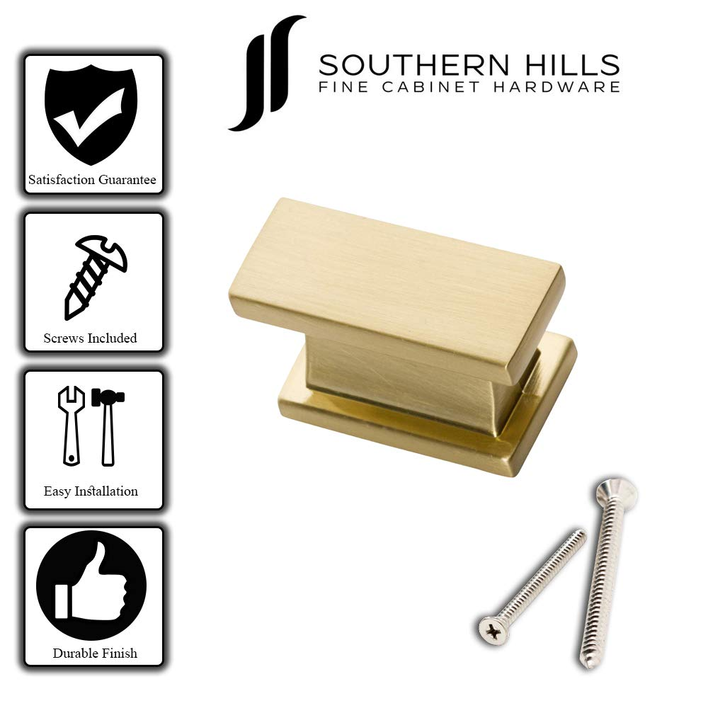Southern Hills Satin Brass Cabinet Knobs - Rectangle - Pack of 5 - Brushed Brass Kitchen Cabinet Knobs - Cabinet Hardware Pulls - SHKM001-BRS-5 by Southern Hills (Image #4)