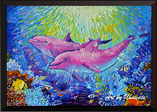 Uhomate Pink Dolphin Sea Animals Wall Decor Vincent, used for sale  Delivered anywhere in USA