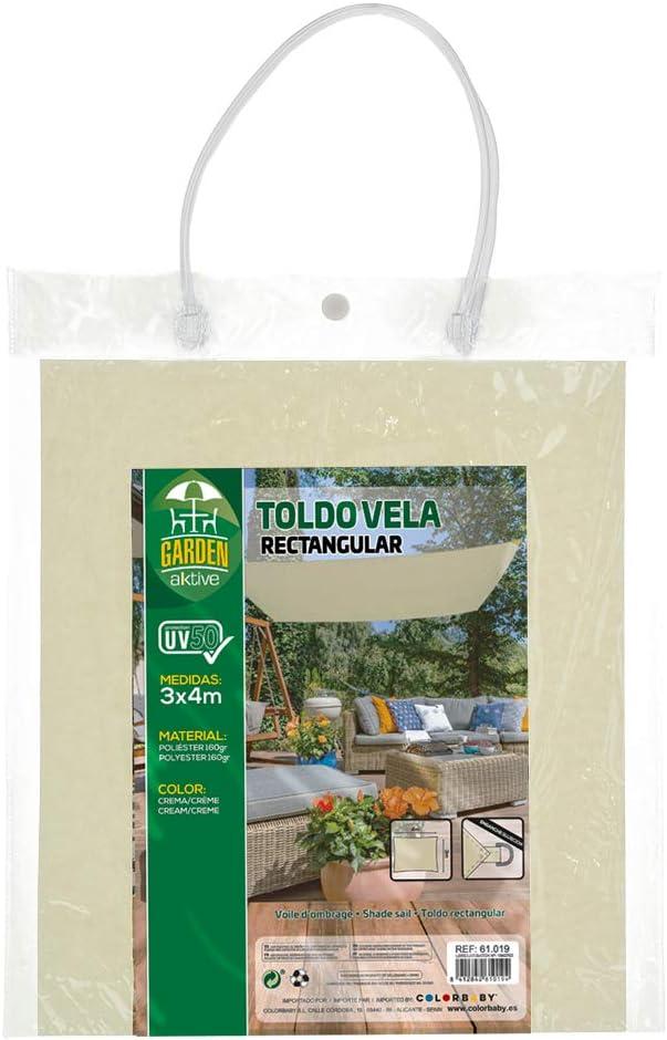 Aktive 61018 Toldo Vela Rectangular con protecci/ón UV50 200 x 300 cm Blanco