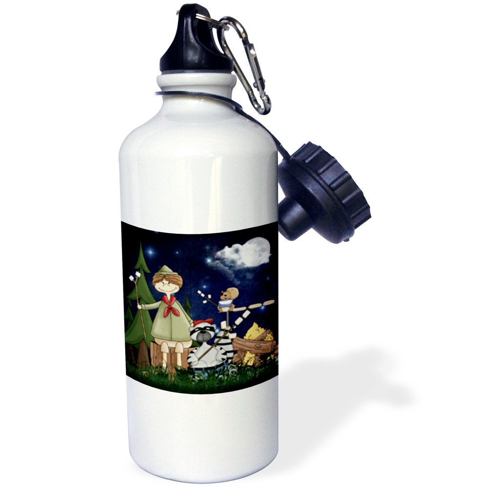 3dRose wb/_101838/_1 Boy Scout Camper in the Woods with a Squirrel and Marshmallows-Sports Water Bottle White 21 oz