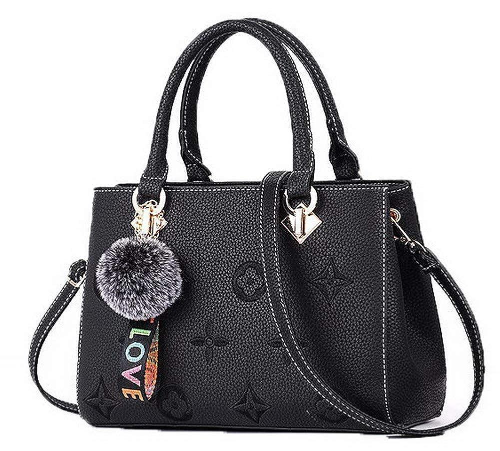 Black WeiPoot Women's Shopping Crossbody Bags Flowers Dacron Tote Bags, EGHBG181758