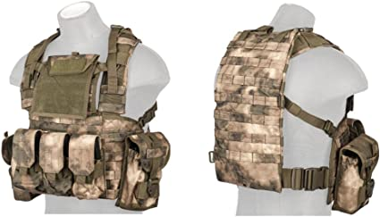 Lancer Tactical Airsoft Load Bearing T1G Chest Rig Vest w// Zipper Tan CA-317T