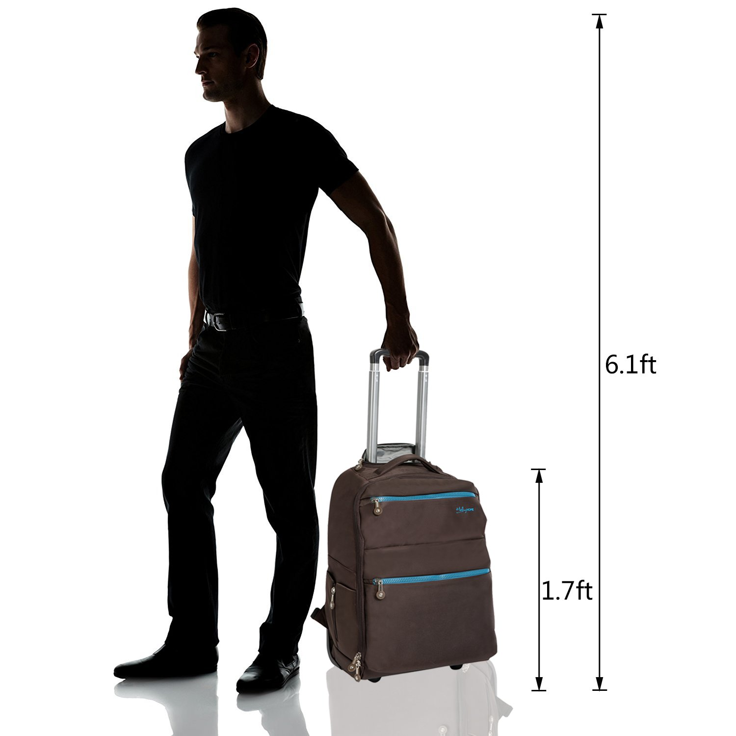 20 inches Large Storage Multifunction Waterproof Travel Wheeled Rolling Laptop Backpack Luggage, Brown by HollyHOME (Image #2)
