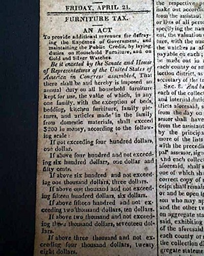 Daily Advertiser Newspaper (PRESIDENT JAMES MONROE Furniture Tax Act of Congress Signed 1815 Old Newspaper BOSTON DAILY ADVERTISER, April 21, 1815)