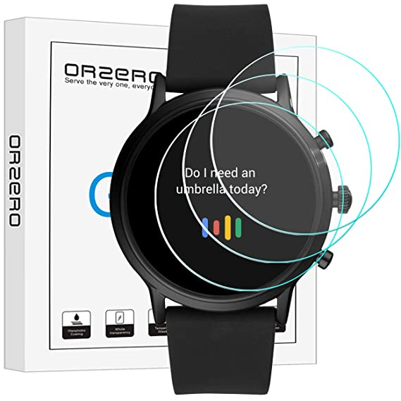 (3 Pack) Orzero Compatible for Fossil Gen 5 Carlyle HR Smartwatch Tempered Glass Screen Protector, 2.5D Arc Edges 9 Hardness HD Anti-Scratch ...