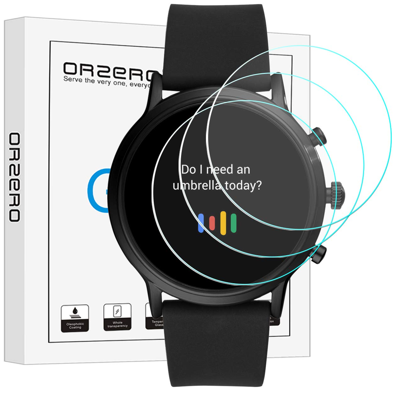 (3 Pack) Orzero Compatible for Fossil Gen 5 Carlyle HR Smartwatch Tempered Glass Screen Protector, 2.5D Arc Edges 9 Hardness HD Anti-Scratch Bubble-Free (Lifetime Replacement)