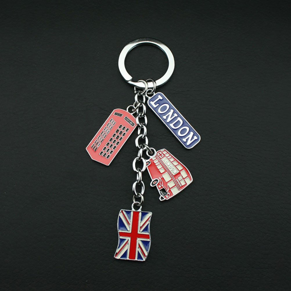 LUOEM UK Flag Metal Keychain Souvenir Keychain Union Jack Keyring Car Keyring Bag Charms