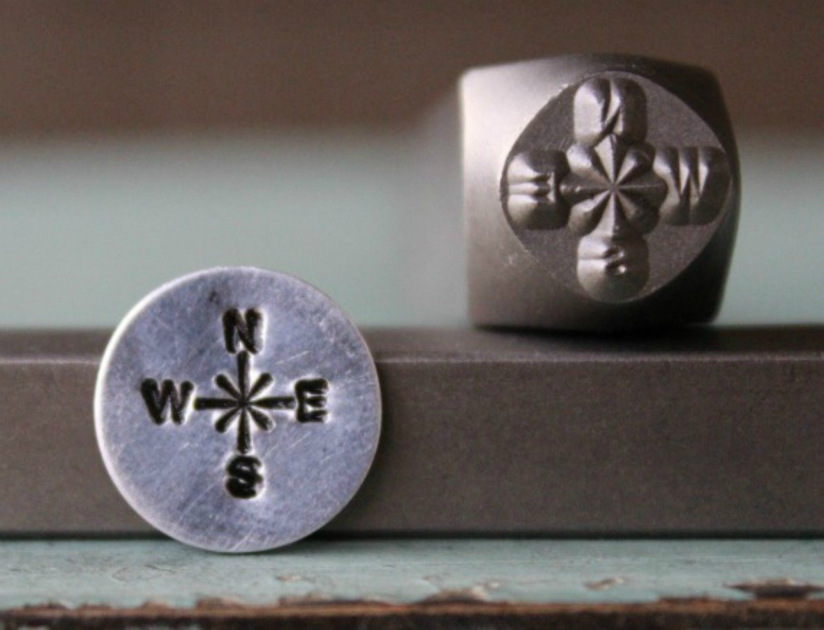 8mm Compass Metal Punch Design Jewelry Stamp