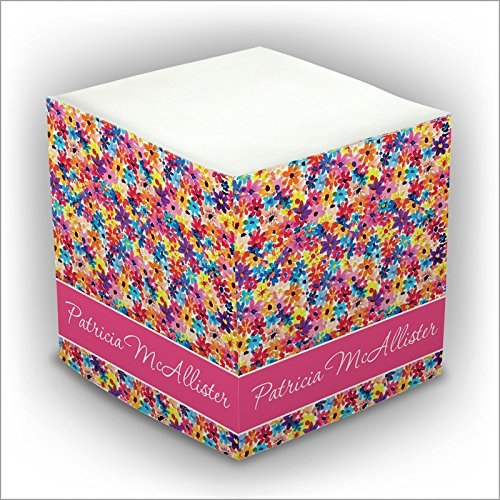 Personalized Self Stick Memo Cube - Covered in Flowers - 2807_2