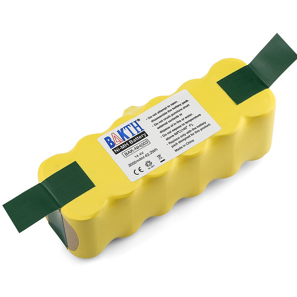 BAKTH 14.4V 3000mAh NI-MH Battery for iRobot Roomba 500 510 520 530 532 535 540 545 550 552 555 560 562 570 580 581 582 585 595 600 610 620 630 631 650 660 700 760 770 780 790 800 870 880 R3 by BAKTH