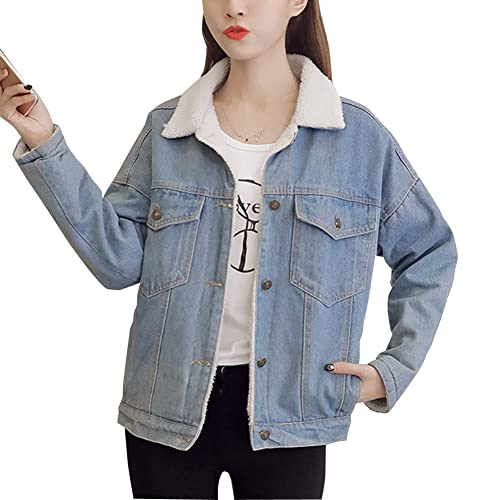 Mujer Casual Manga Larga Abrigos Chaquetas Jacket De Mezclilla Abrigo Chaqueta