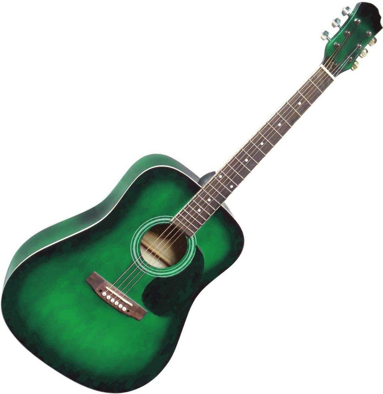 Guitare Acoustique Folk Verte 4//4 ~ Neuve /& Garantie
