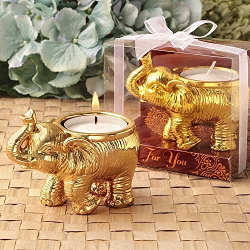 FavorOnline Good Fortune Design Gold Elephant Candle Holder, 24]()