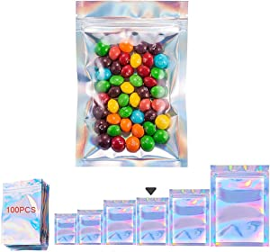 100 Pieces Resealable Smell Proof Bags Foil Ziplock Bags, Flat Clear Ziplock Food Storage Bags Pouch Aluminum Foil Bags Plastic Packaging Foil Bags, Holographic Rainbow Color (3.5 X 6.3inchinch)