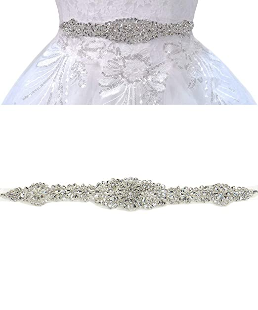 Clear Crystal Wedding Gown Sashes