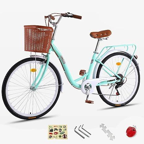 ZXLLO Bicicleta De Mujer De París Holland Bike Aluminio De 24 Pulgadas con La Cesta 7 Velocidades Bicicleta De Ciudad para Damas Diseño Retro Bicicleta para Mujeres 16 Kg: Amazon.es: Deportes y